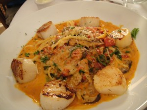 Seared Scallops with Saffron and Pasta